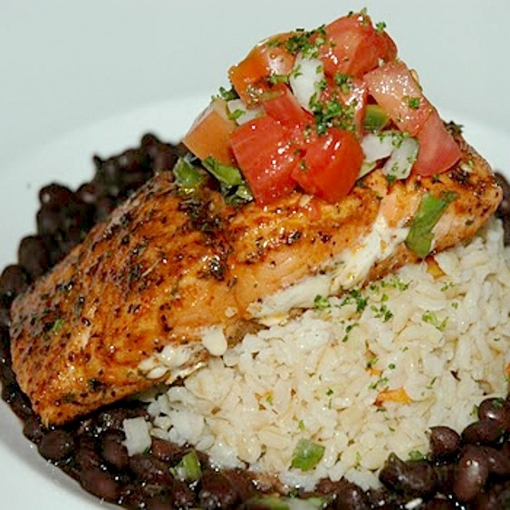 Black Beans With Rice And Salmon Power Plate