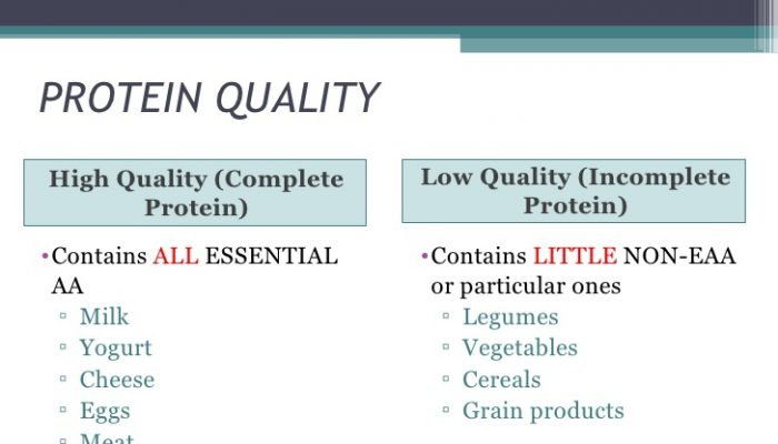 High And Low Quality Protein Foods
